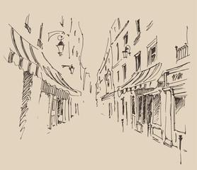 streets in Paris, France, vintage engraved illustration
