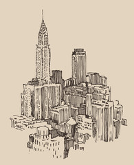 New York city engraving vector illustration, hand drawn