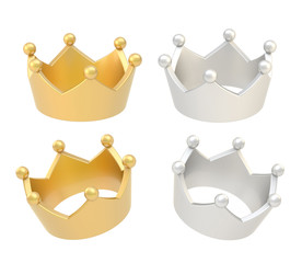 Four crown renders isolated