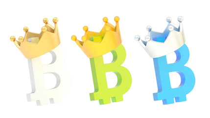 Bitcoin currency sign in a crown