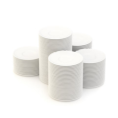 Multiple piles of plates isolated