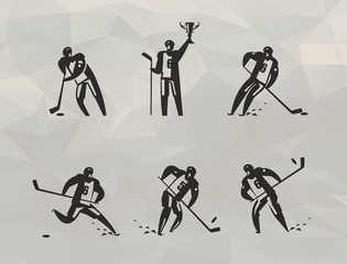 Hockey players icons. Vector format