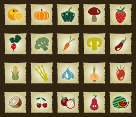 Vegetables and Fruits icon set - Illustration- Illustration