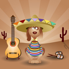 Mexican dog with guitar and maracas