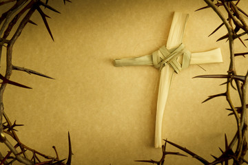 Crown of Thorns on parchment background illustrates Easter