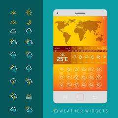 Weather widgets vector template