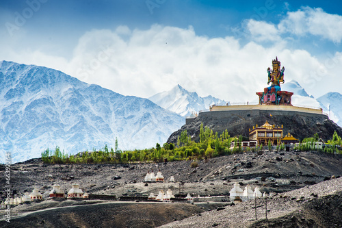 Spoed canvasdoek 2cm dik India Maitreya at Disket Monastery, Ladakh, India