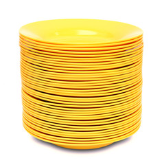stack of yellow plate isolated on white background