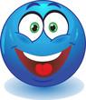 Синий смайл улыбается