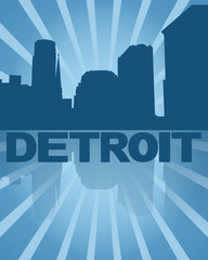 Detroit skyline reflected with blue sunburst illustration