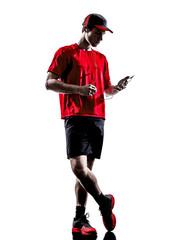 runner jogger smartphones headphones silhouette