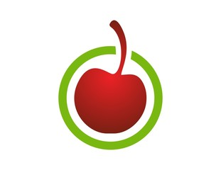 cherry logo,fresh global fruit symbol icon