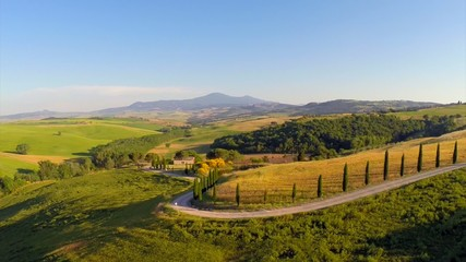 Val d'Orcia in the province of Siena in Tuscany, aerial view