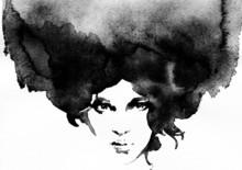aquarelle abstraite, portrait de femme