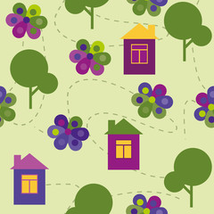 vector seamless pattern colorful trees and houses