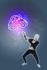 Mann Präsentation Auto Kfz Automobil mobil Mobilität