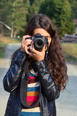 Brunette photographer