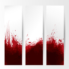 set of three banners, abstract headers with red blots