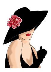 дама в шляпе с розово мальвой