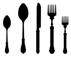 Black silhouettes of knife fork and spoon, vector
