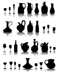 Black silhouettes and shadow of pitchers, glasses and bottles
