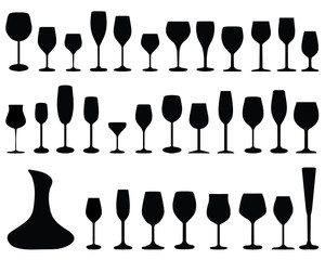 Black silhouettes of pitchers, glasses and bottles