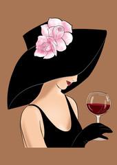 дама в шляпе с розовыми розами и бокалом