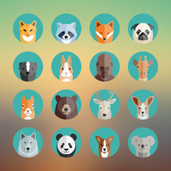 Animal Portraits Icon Set in Flat Style With Abstract Background