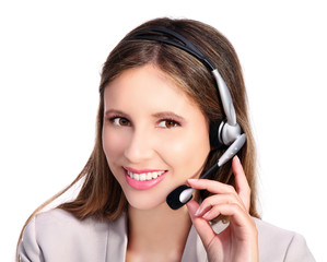 customer service smiling girl with headphones and microphone