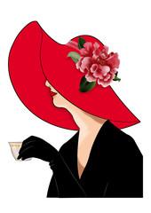 дама в красной шляпе с чашкой в руке