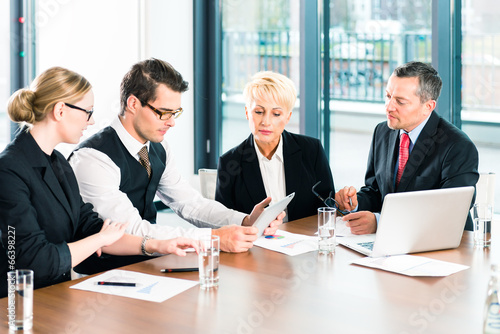 canvas print picture Business - meeting in office, people working with document