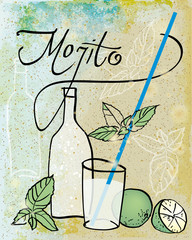 MOJITO / Retro card with summer drink on the sandy beach
