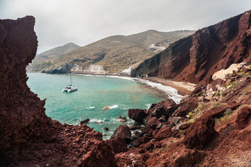 View of the bay and the beautiful Red beach