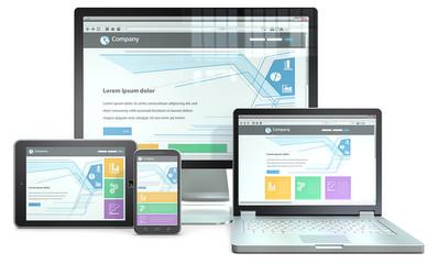 RWD concept.Smartphone,laptop,screen,tablet computer.No branded
