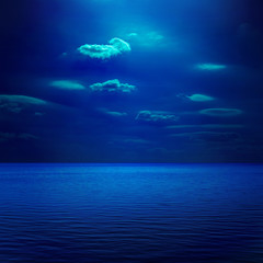 dark blue moonlight over sea