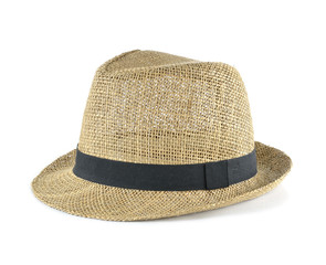 Pretty straw hat on white background