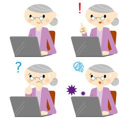 パソコンをするおばあちゃん