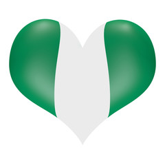 Nigerian flag in 3D heart shape