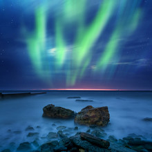 aurora borealis over the sea