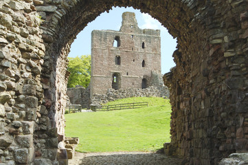 Norham Castle and tower through the entrance gate