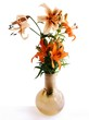 posy of orange and pink lilies