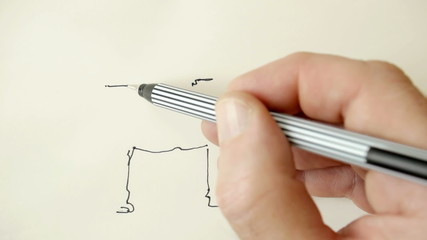 Drawing a cartoon dog.