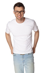 Young man with glasses smiling isolated