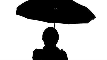 Black and white image of a woman with umbrella.