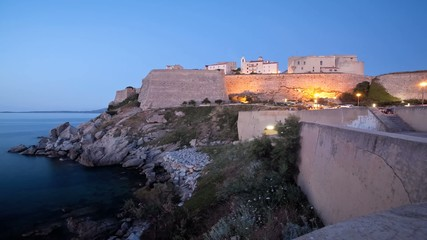 A timelapse view of the citadel at Calvi, Corsica, France