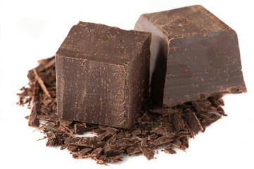 Cubes of chocolate and grated chocolate