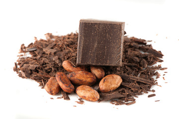 Chocolate, grated chocolate and cocoa beans
