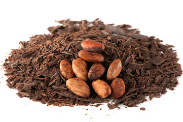 Grated chocolate and cocoa beans