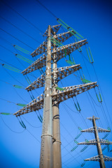 High Voltage Electric Tower, blue sky