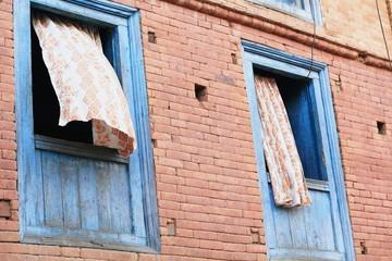 Blue windows in Bandipur-Nepal. 0440